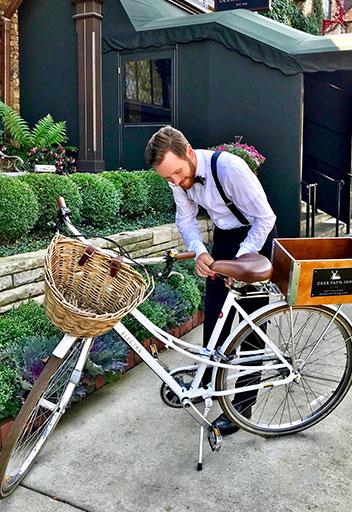 Man securing bike