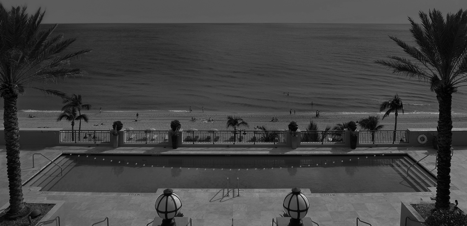 Hotel pool overlooking ocean