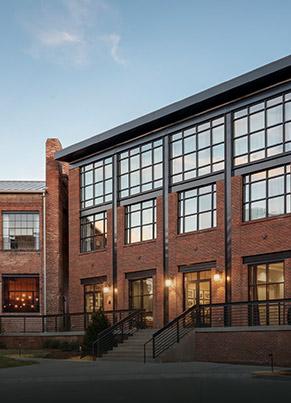 Brick building with windows