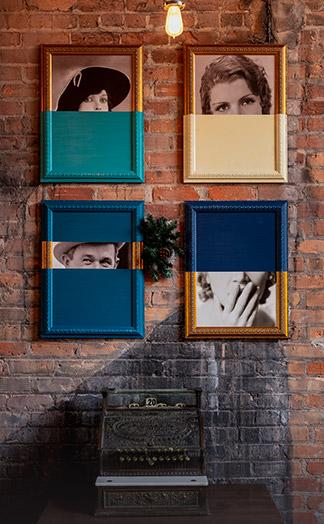 Pop art portraits on wall