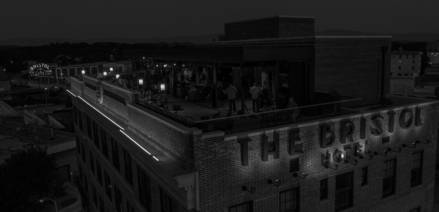 black and white image of the rooftop of the bristol hotel
