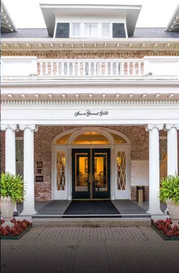 the entryway to a hotel