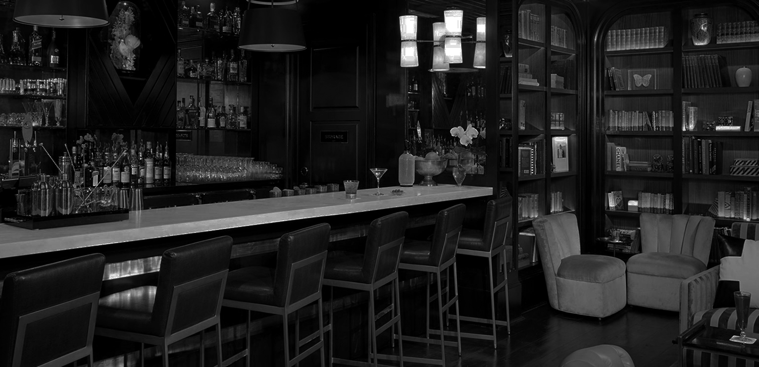 Bar with green stools
