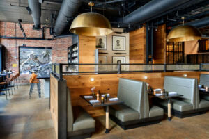 large dining booths with gray leather