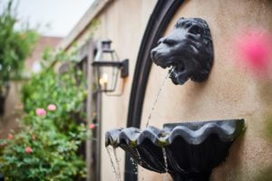 a black lion fountain on the wall